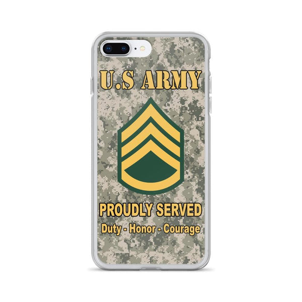 US Army E-6 Staff Sergeant E6 SSG Noncommissioned Officer Ranks iPhone Case