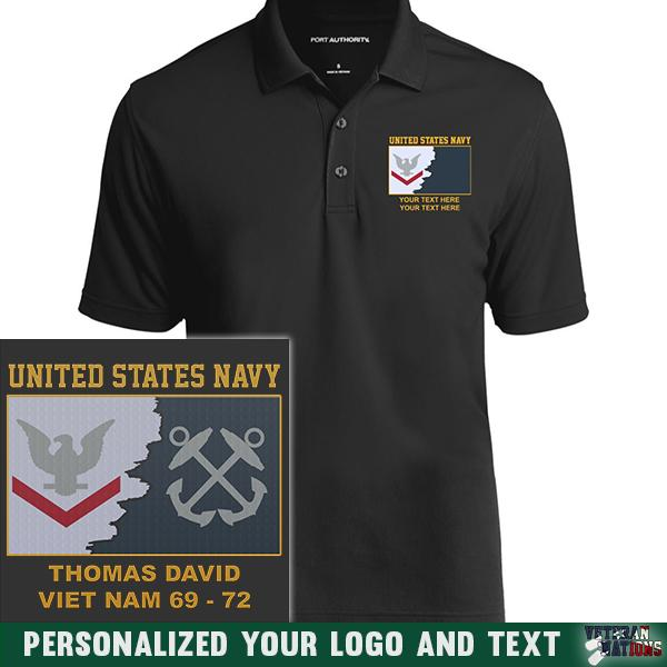 US Navy E4 - Petty Officer Third Class PO3 Rating Badge Personalized Embroidered Port Authority® Polo Shirt