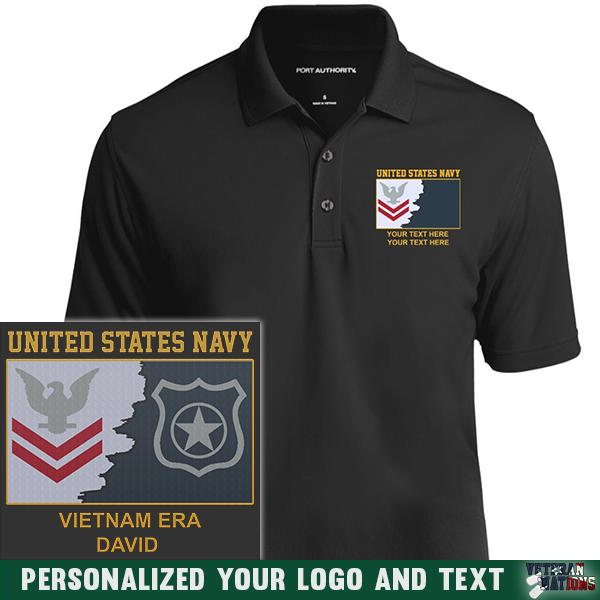 US Navy E5 Red - Stripe Petty Officer Second Class PO2 Rating Badge Personalized Embroidered Port Authority® Polo Shirt