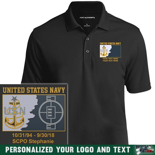 US Navy E8 - Senior Chief Petty Officer SCPO Rating Badge Personalized Embroidered Port Authority® Polo Shirt
