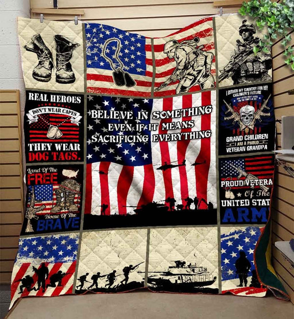 Proud Army Veteran Blanket Quilt