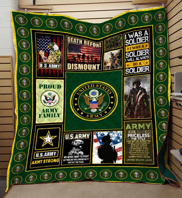 US Army Strong - Proud Army Veteran Blanket Quilt