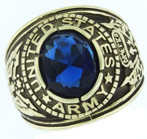 United States Army Stainless Steel Sapphire Blue Stone Crown Top Ring