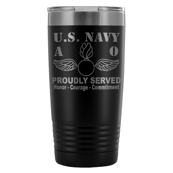 U.S. Navy Aviation Ordnanceman AO - Proudly Served - 20 Ounce Vacuum Tumbler
