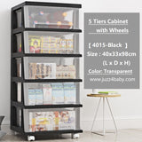 【4015-5 Tiers 】Transparent Moving Storage Cabinet with Wheels - Juzz4Baby