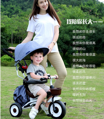 Foldable kids Children Tricycle 3 in 1 Trike multi functions Push Control Handle - Juzz4Baby