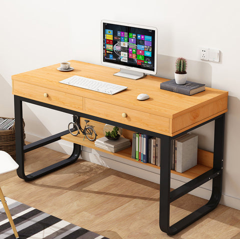A123W - 100cm x 50cm Wooden Computer Study Table With 2 Drawers