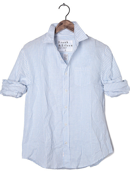 Luke White and Blue Stripe Cotton-Linen Shirt