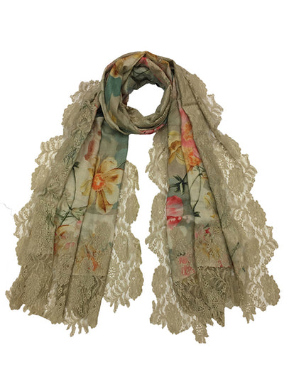 Blooming Flowers Lace Scarf