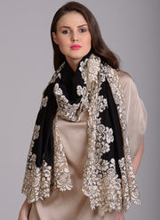 Black Corded Lace Scarf