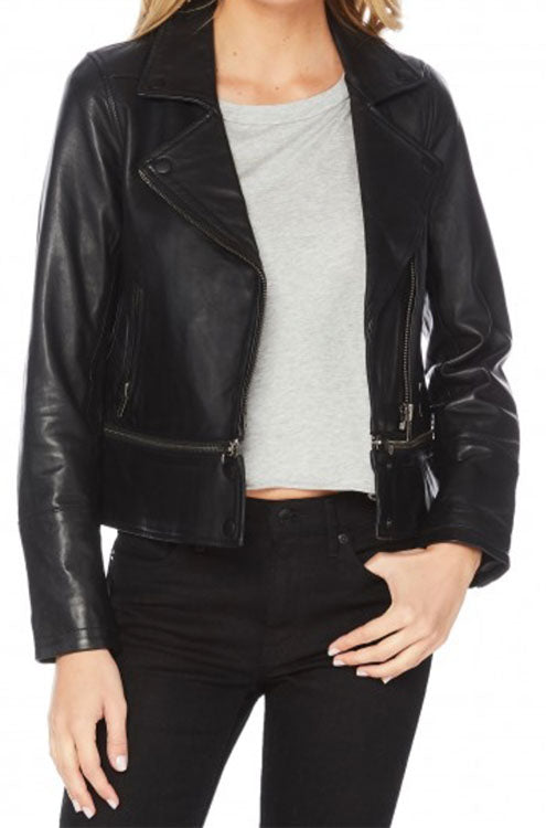 Convertible Leather Moto Jacket