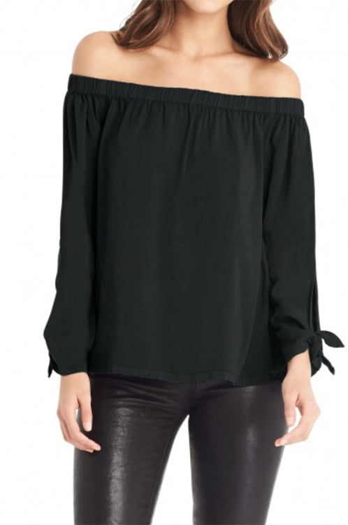 Tie Sleeve Top Black