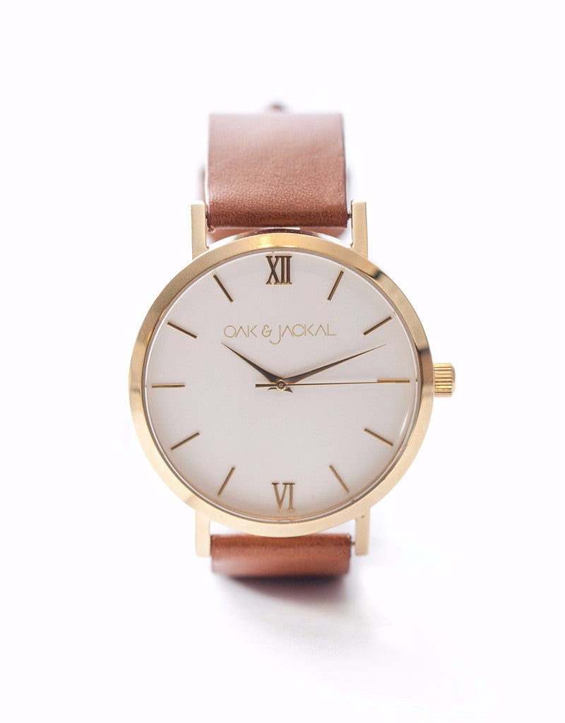 Gold/Tan Timepiece
