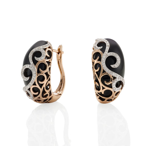 Black Onyx Diamond Earrings with Rose Gold #107