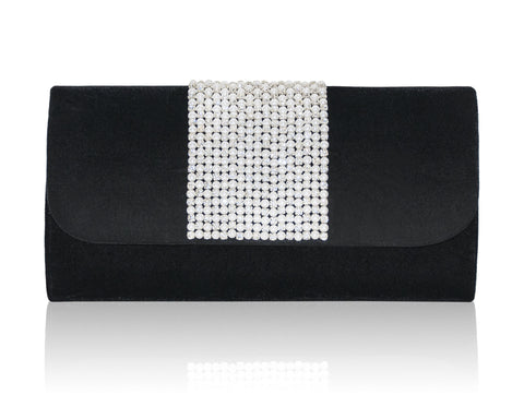 Hand Embroidered Envelope Clutch - Black #13