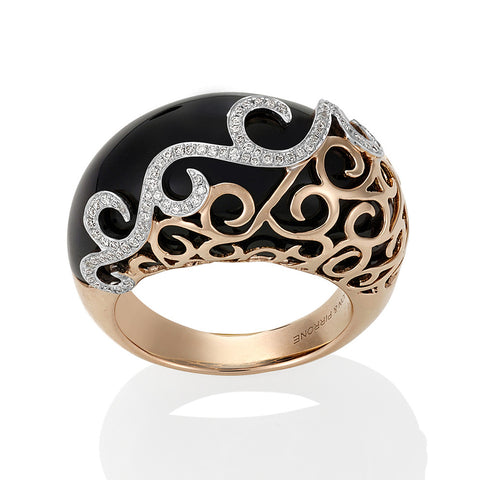 Black Onyx Diamond Ring with Rose Gold #108