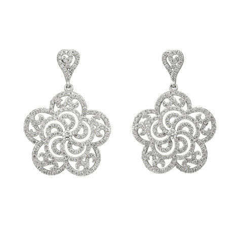 18KW Diamond Flower Earring #224