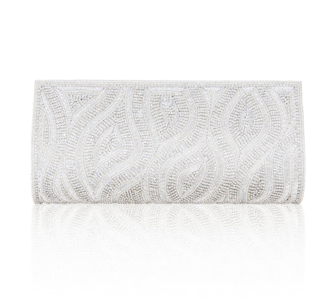 Hand Embroidered Clutch - Silver #21