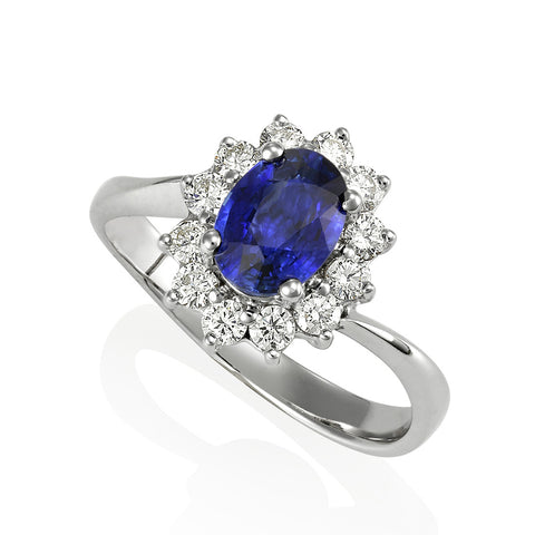 18KW Oval Blue Sapphire with Diamond Ring #194 (SOLD)