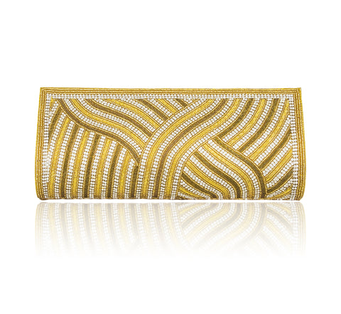 Hand Embroidered Clutch - Gold #11
