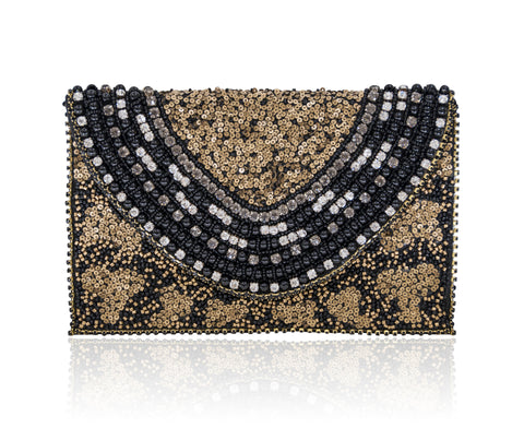 Hand Embroidered Envelope Clutch Black Gold #22
