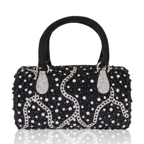 Hand Embroidered Top Handles Handbag - Black #8