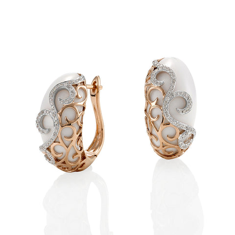 White Onyx Diamond Earrings with Rose Gold #110