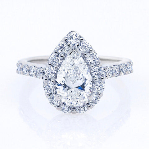 18KW Pear Shaped Halo Diamond Engagement Ring #391