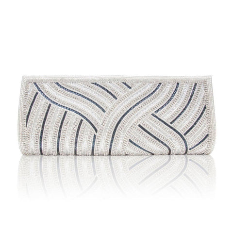 Hand Embroidered Clutch - Silver #9