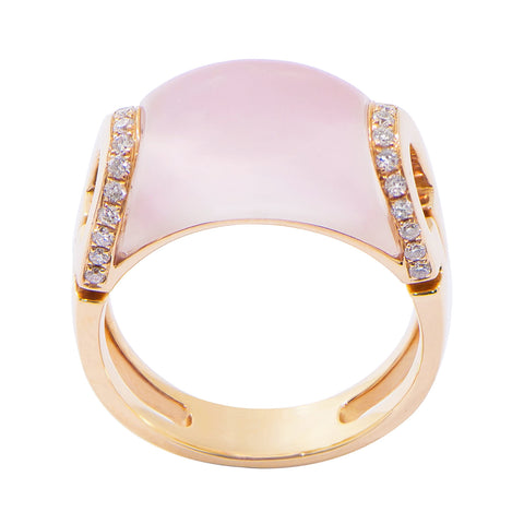 Rose Quartz with Diamond Ring #2