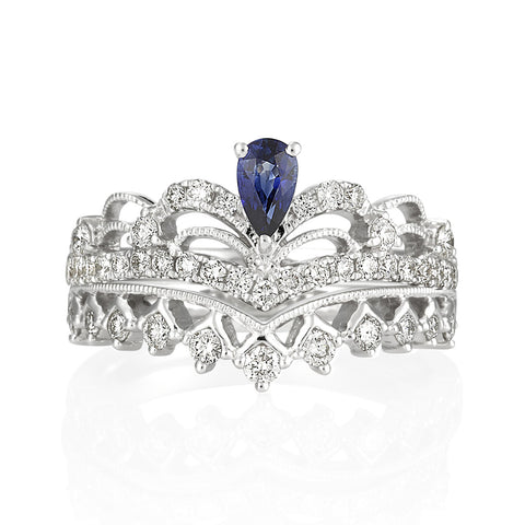 18KW Blue Sapphire Crown Diamond Ring #196/7