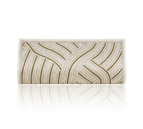 Hand Embroidered Clutch - Off-white #10