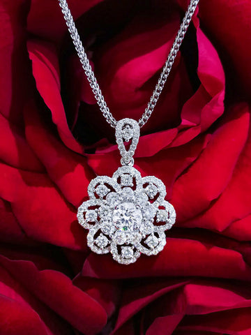 18KW Diamond Flower Pendant#375