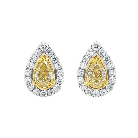 Yellow Diamond Earrings in 18K Gold #310