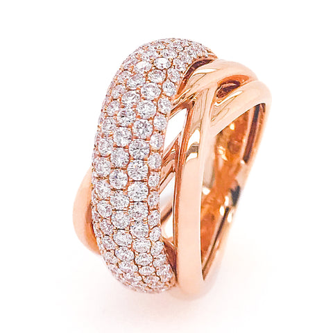 18K Rose Gold & Diamond Crossover Ring #318