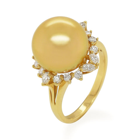 18KY South Sea Pearl Diamond Ring #338