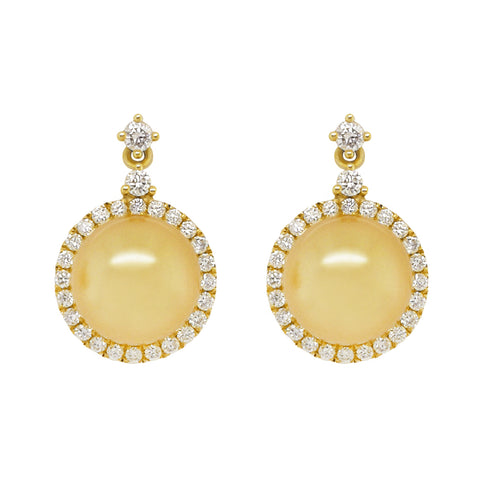 Golden South Sea Pearls with Diamonds Earrings #340