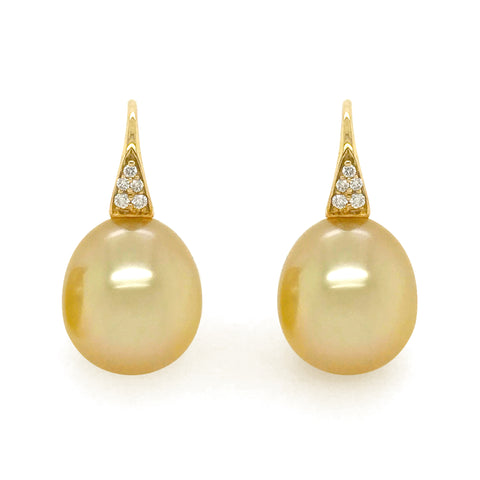 Golden South Sea Pearls with Diamonds Earrings #377