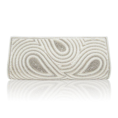 Hand Embroidered Clutch - Silver #17