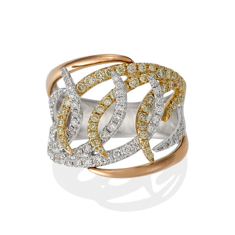 Yellow and White Diamond Swirl Ring #9