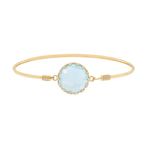 Yellow Gold Sky Blue Topaz with Diamond Bangle #176