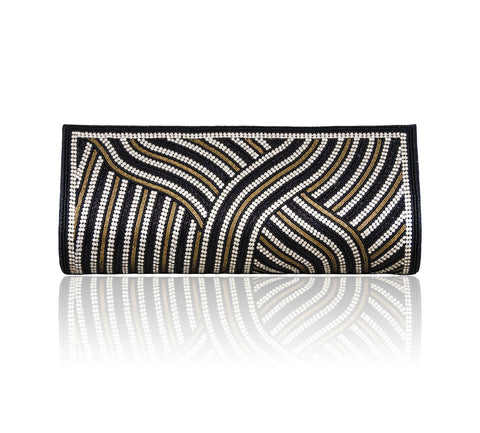 Hand Embroidered Clutch - Black #12