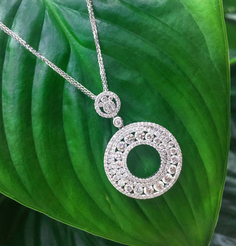 18KW Diamond Circle Pendant #273