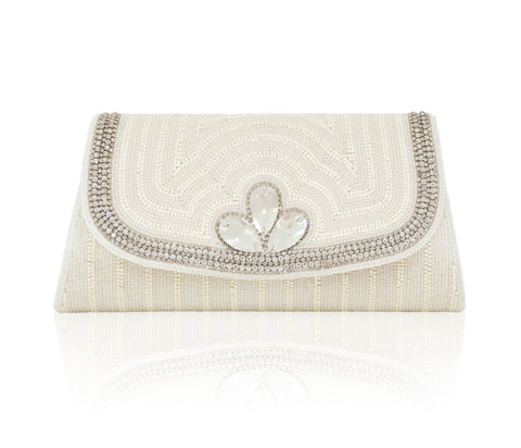 Hand Embroidered Clutch - Silver #18