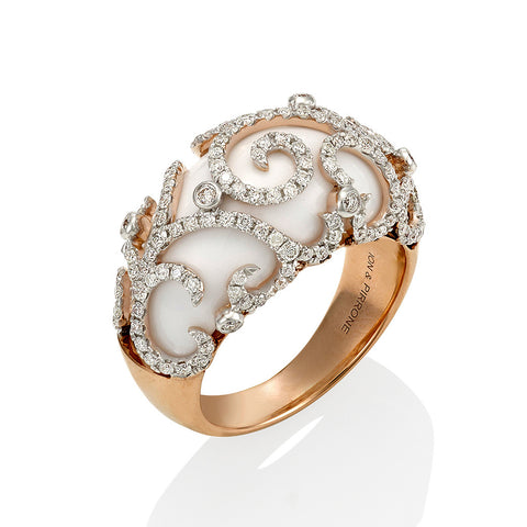 White Onyx Diamond Ring with Rose Gold #115