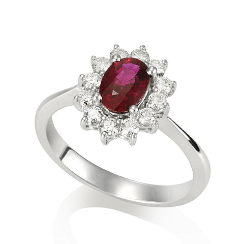 18KW Oval Ruby with Diamond Ring #193