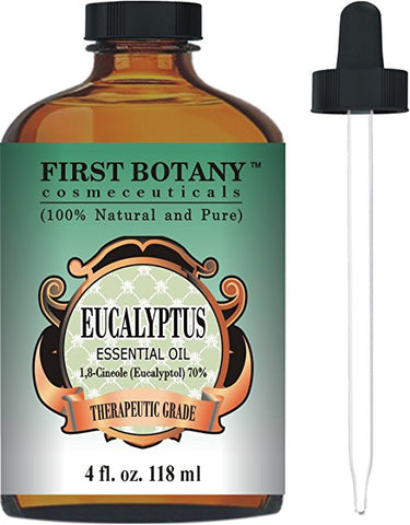 Eucalyptus Essential Oil - Big 4 Oz - 100% Pure & Natural Therapeutic Grade with Glass Dropper