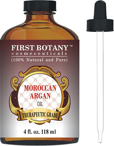 Moroccan Organic Argan Oil For Hair, Skin, Face, Nails, Cuticles & Beard 4 fl. oz