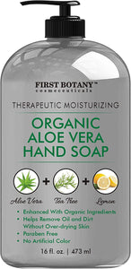 Organic Aloe Vera Liquid Hand Soap - Hand Wash with Organic Tea Tree Oil & Organic Lemon Oil- Multipurpose Hand Cleansing Gel in Pump Dispenser - Natural Bathroom Soap - 16 fl oz