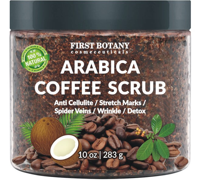100% Natural Arabica Coffee Scrub  with Organic Coffee, Coconut and Shea Butter